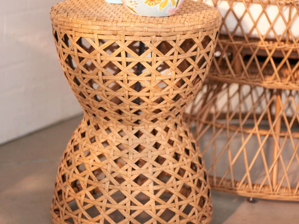 wicker weaved accent table