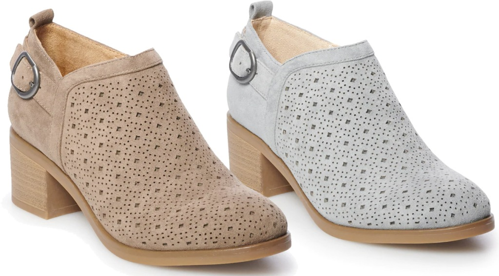 two pairs of womens ankle booties with cutout design in tan and light grey colors