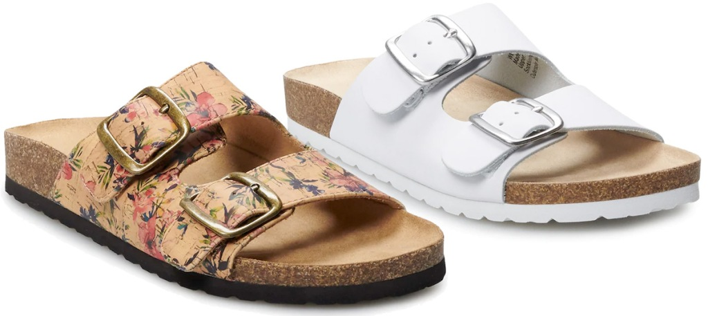 two pairs of womens footbed sandals with two straps in white and tan floral colors
