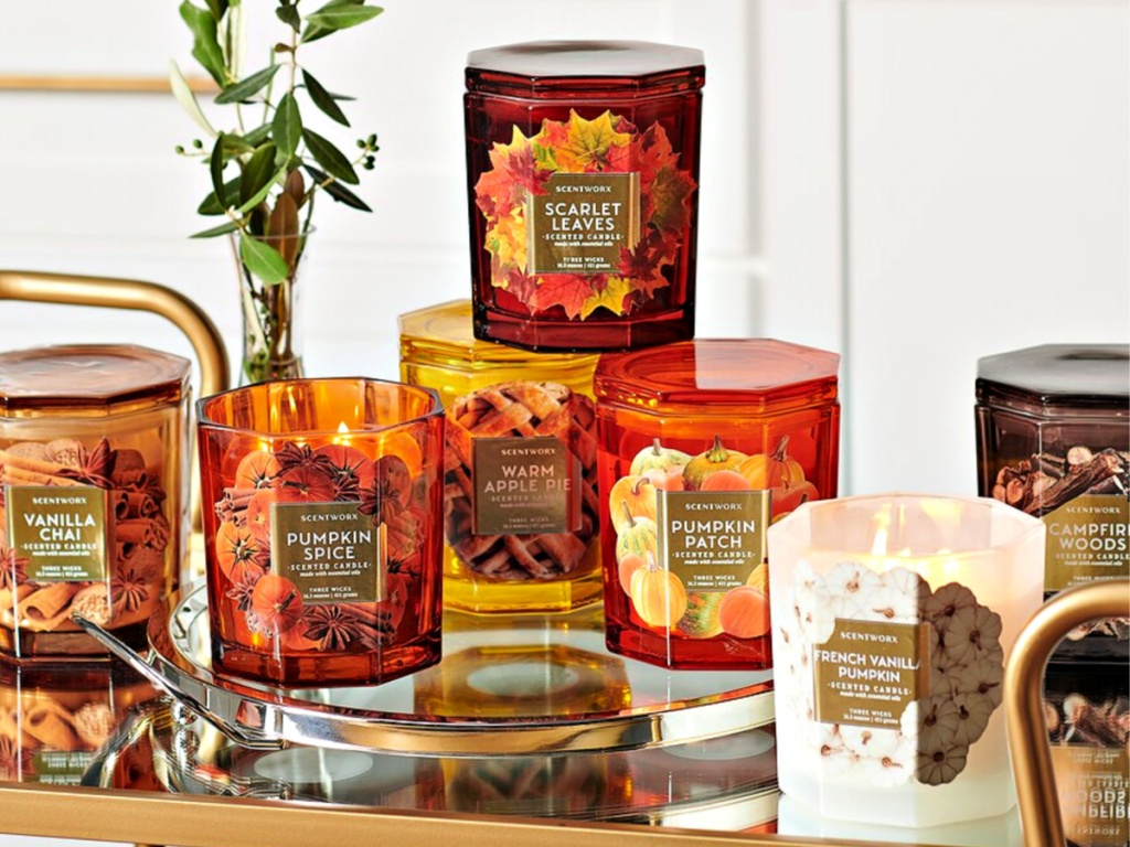 ScentWorx fall candles on display