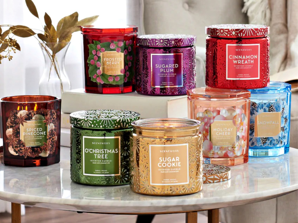 ScentWorx holiday candles on end table