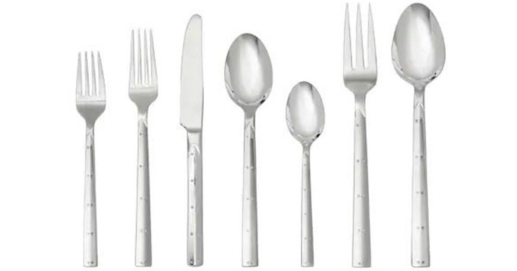 stock image of brushed flatware set