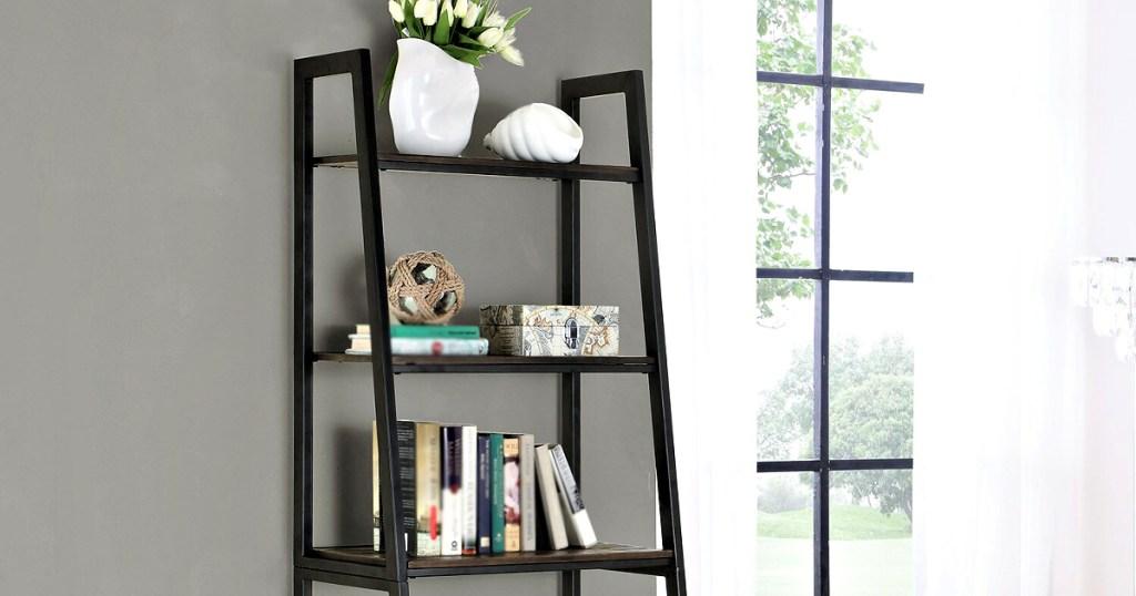 Scott Living Hamilton 5-Tier Ladder Bookshelf in livingroom