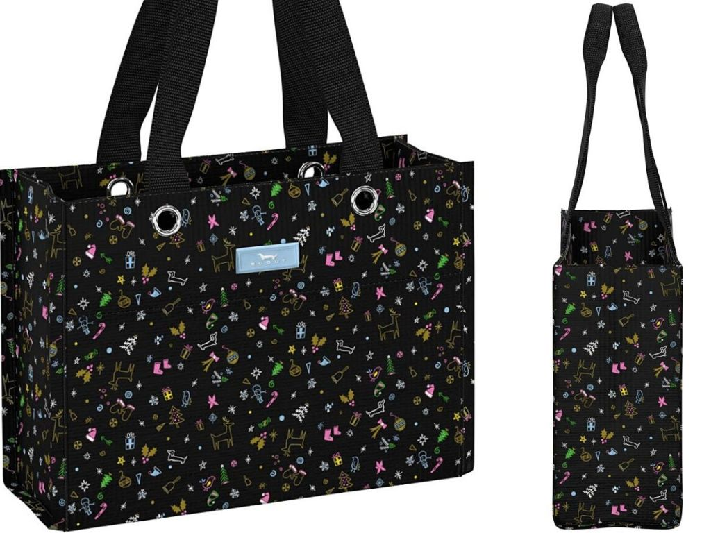Black Tote Bag front and side view