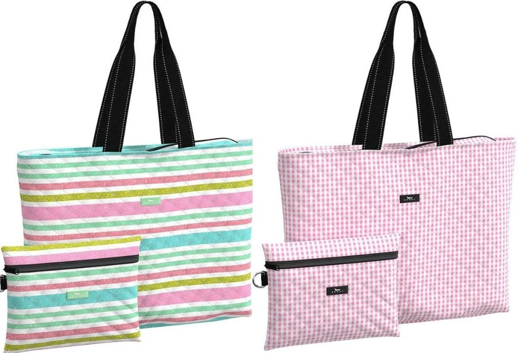 two tote bags with matching pouches