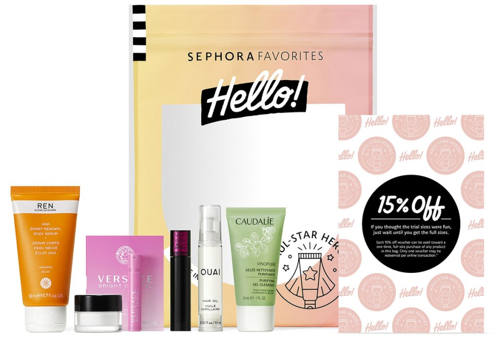 various skincare and perfume samples with 15% off coupon