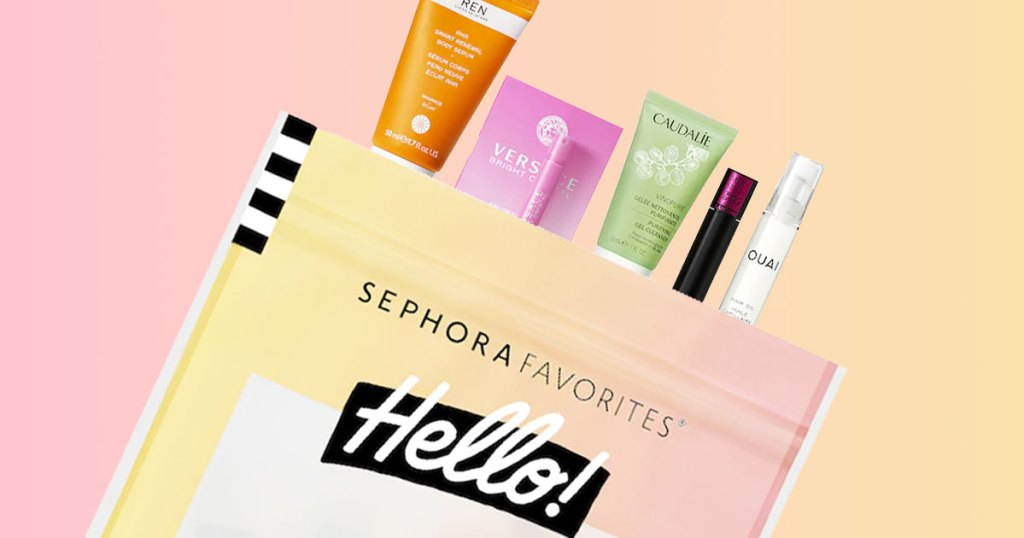 skincare and perfume samples popping out of a pink and yellow sephora favorites bag