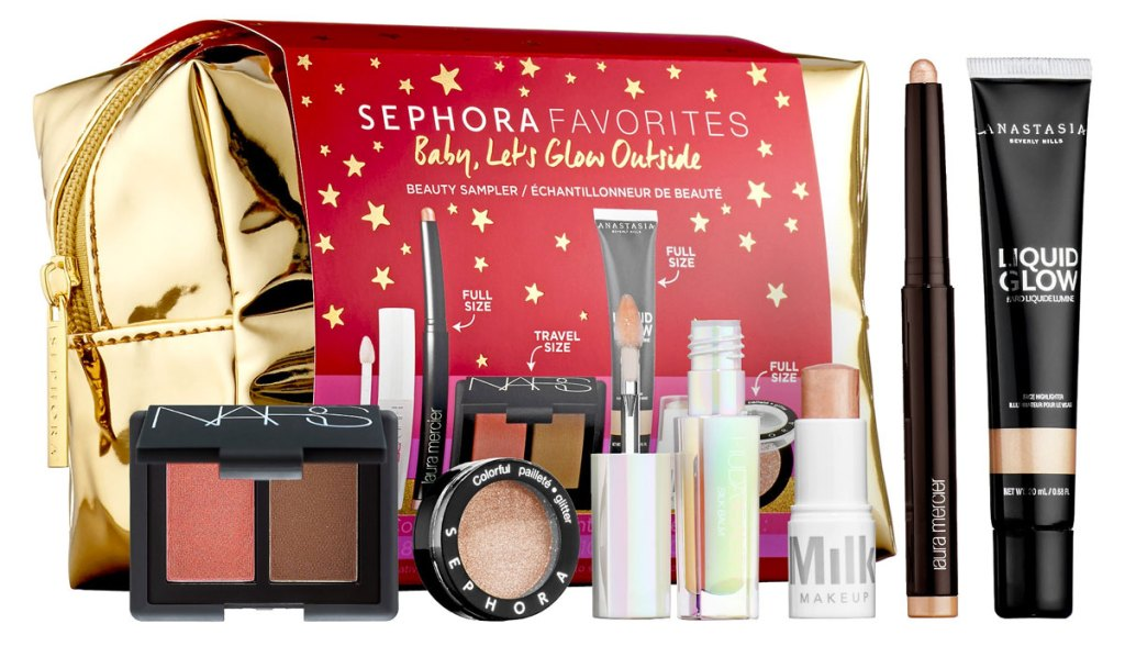 various sephora trial size cosmetics with gold cosmetics bag