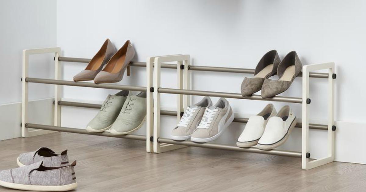 Shoes organized on a shoe rack