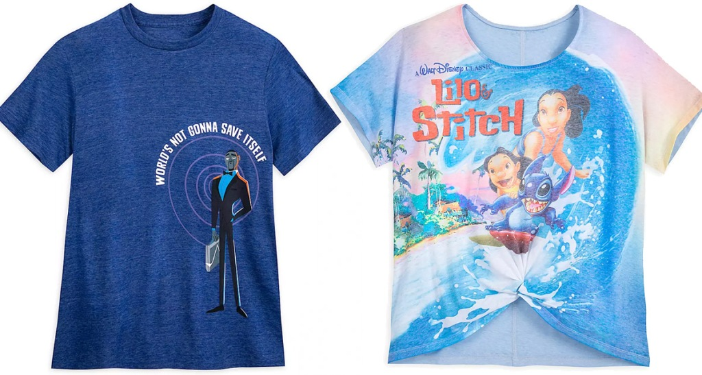 blue graphic lance sterling adult shirt and womens lilo and stich graphic shirt with knot in middle