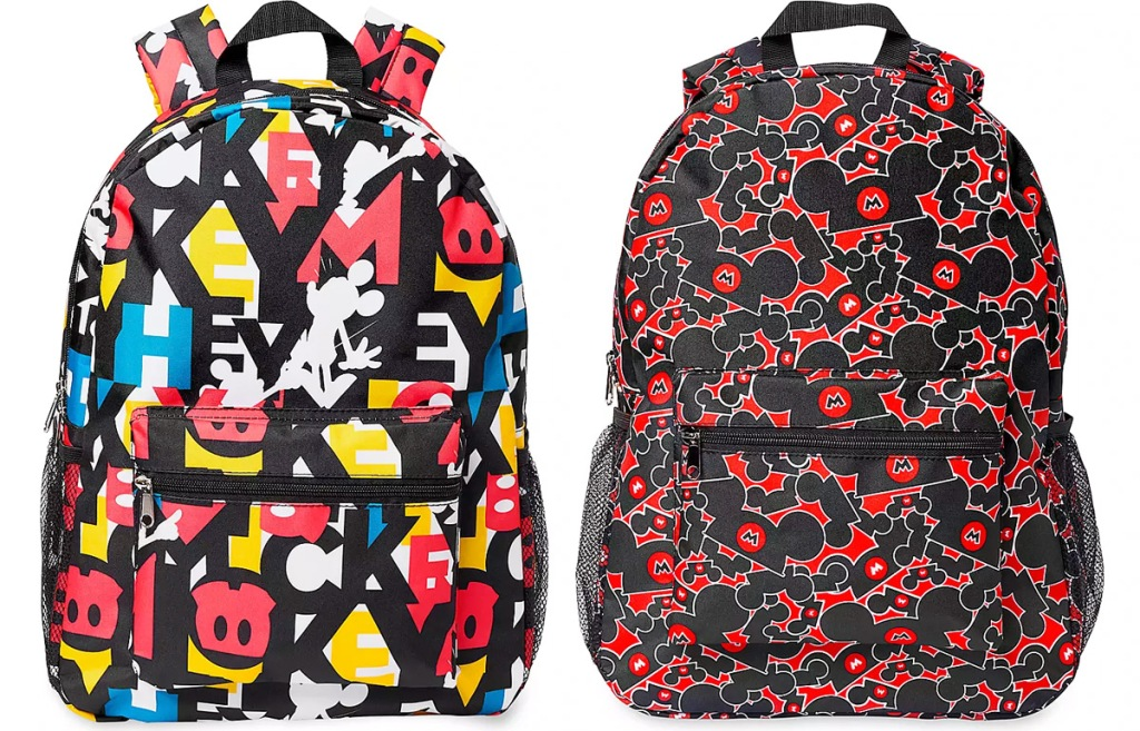 two black and red backpacks with allover mickey mouse prints