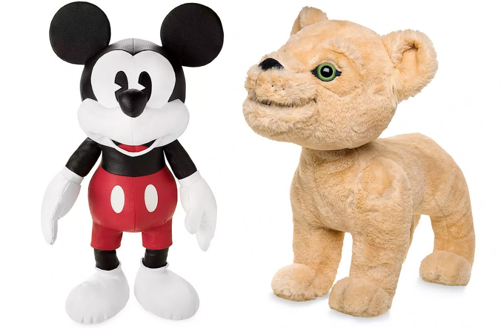 leather plush mickey mouse doll and fuzzy lion king nala lion plush