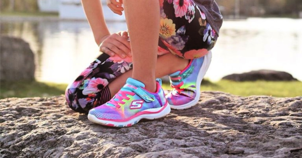 Skechers rainbows shoes on girl