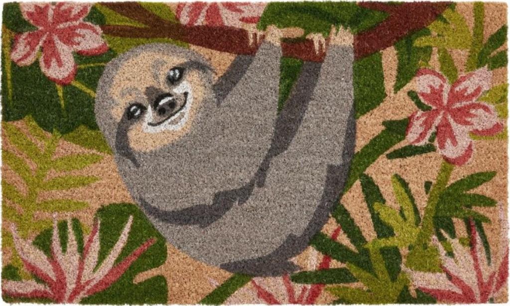 floral sloth doormat