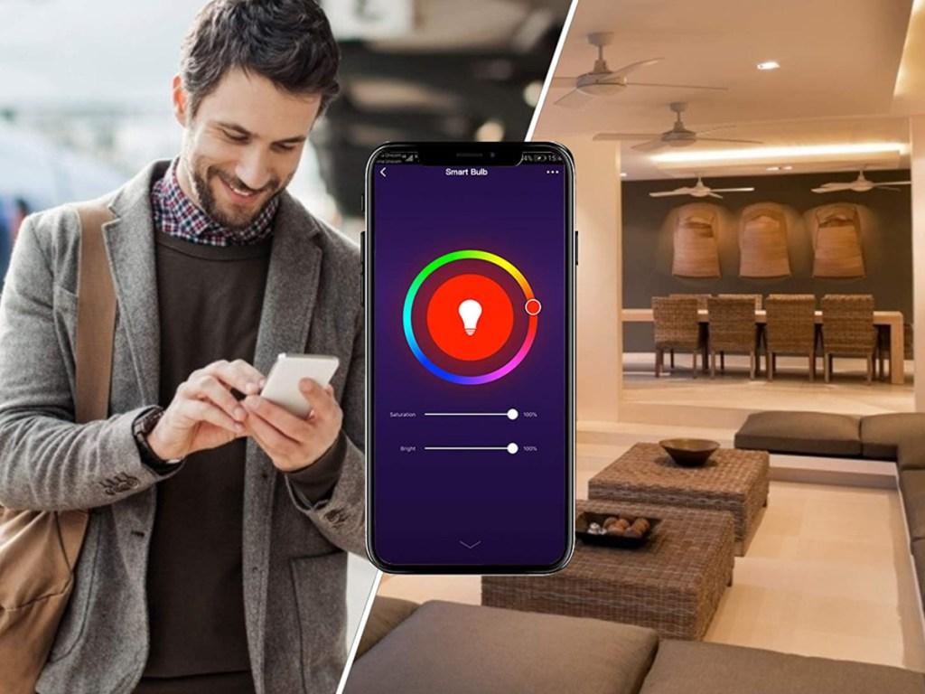 man using smart bulb app