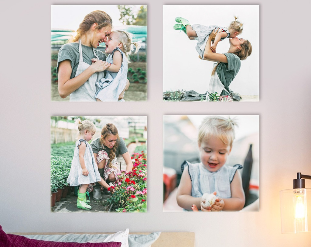 four 8x8 photo tiles hanging on wall
