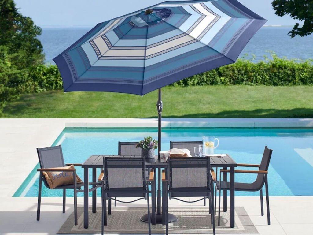 patio table with umbrella