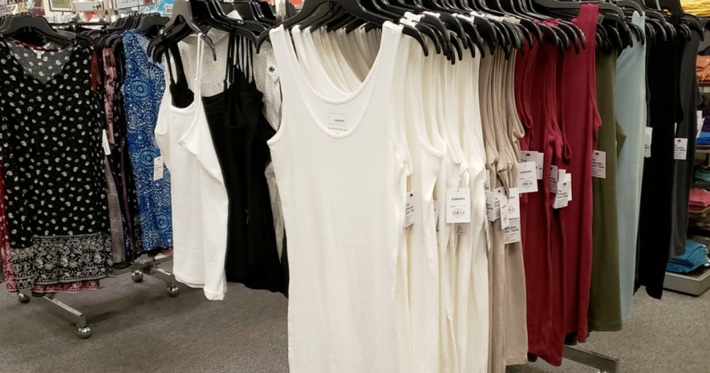 store display rack of womens basic tank tops