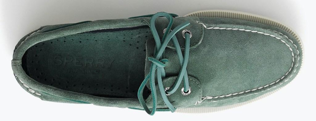 men's green suede boat shoe