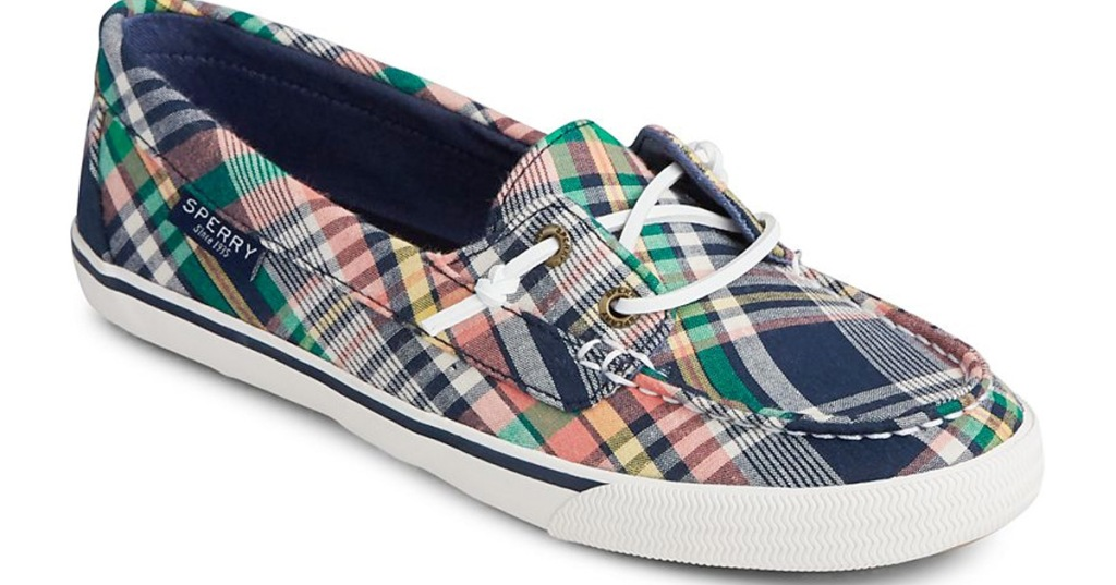 plaid printed slip-on sneaker with white laces and sole