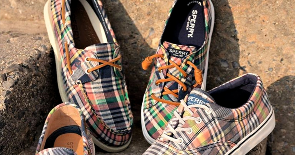 Sperry plaid shoes on steps