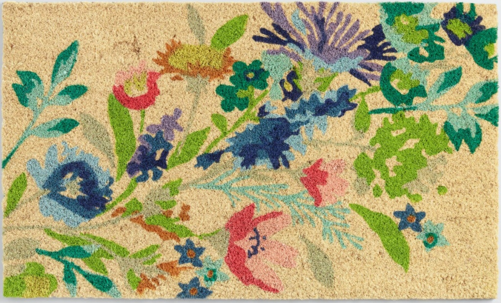 tan floral design doormat