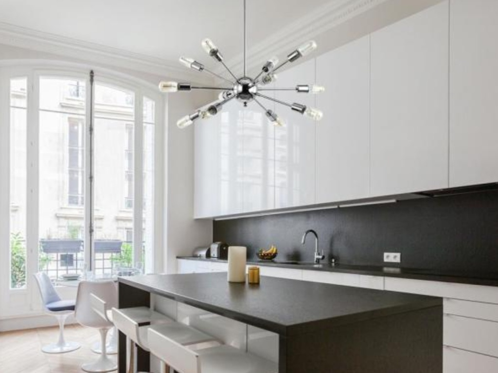 Sputnik Style Chrome Light Feature hanging for a kitchen ceiling