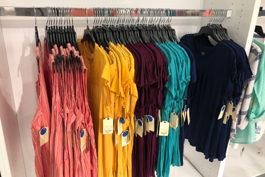 women's shirts on hangers