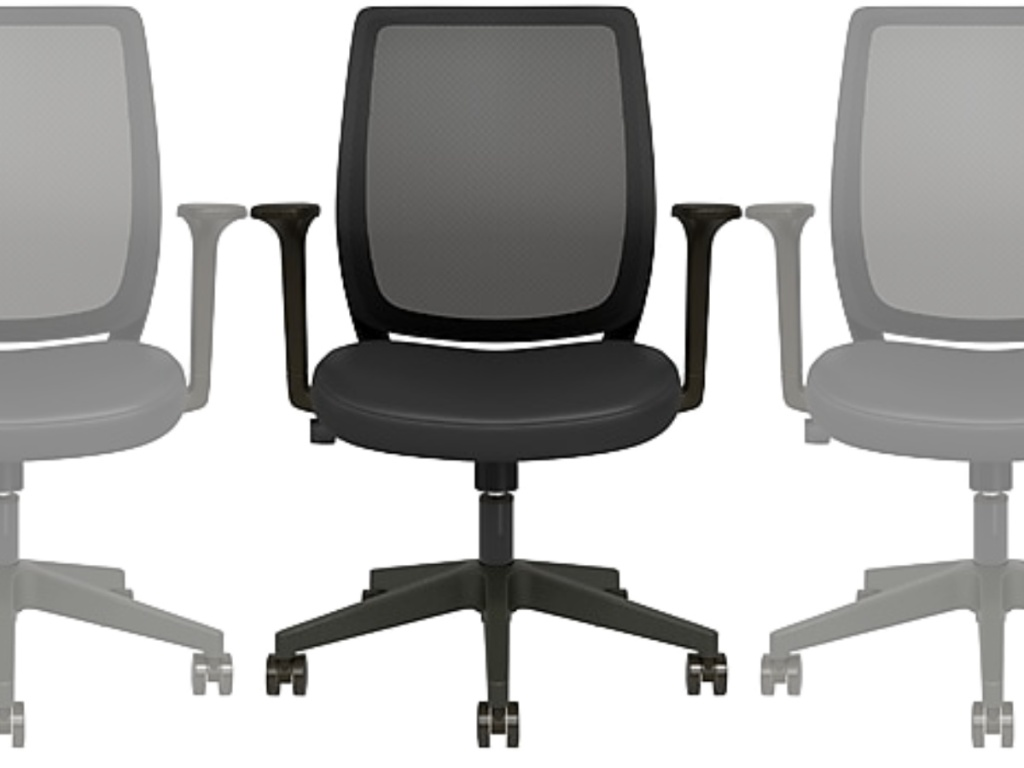 three Union & Scale Essentials Mesh Back Fabric Task Chair