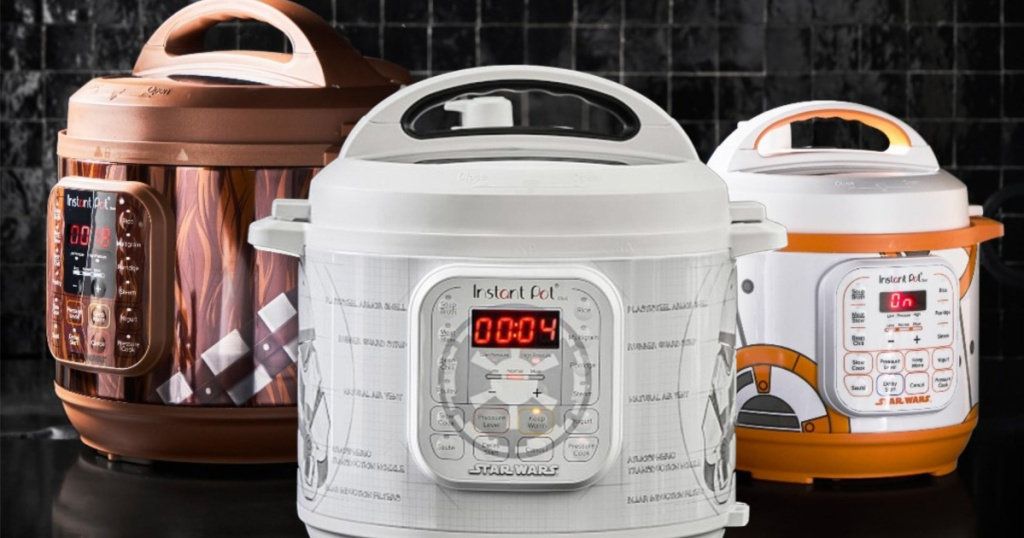 Star Wars Edition Instant Pot with chewbacca, bb-8, and storm trooper