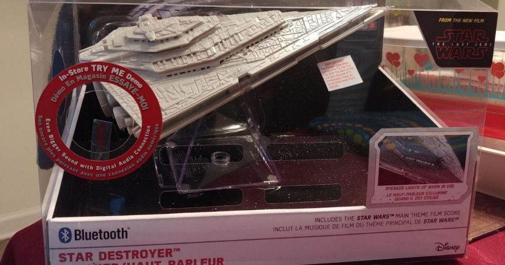 star wars destroyer shaped bluetooth speaker in box