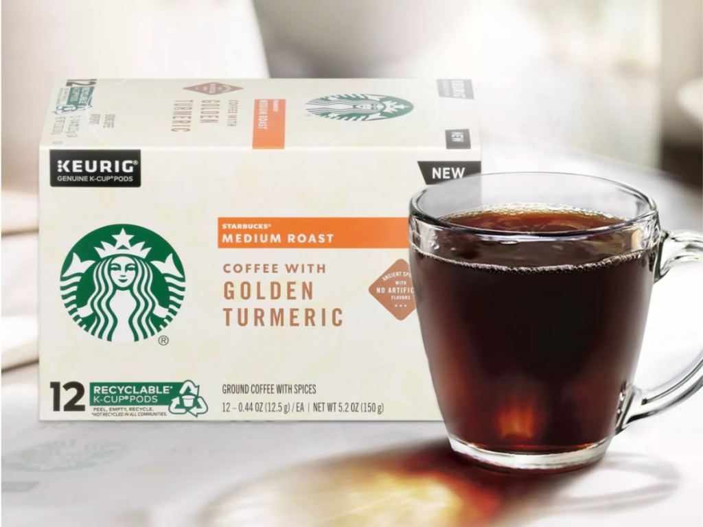 box of Starbucks Golden Turmeric K Cups with cup of coffee