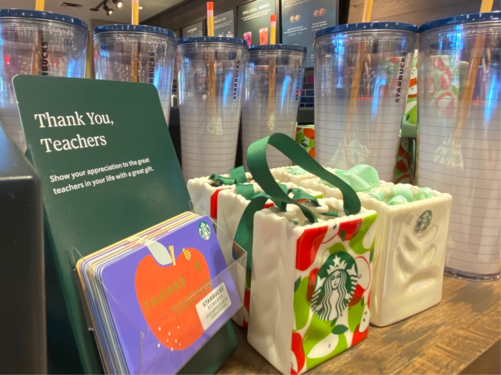 shelf with Starbucks Teacher Gifts