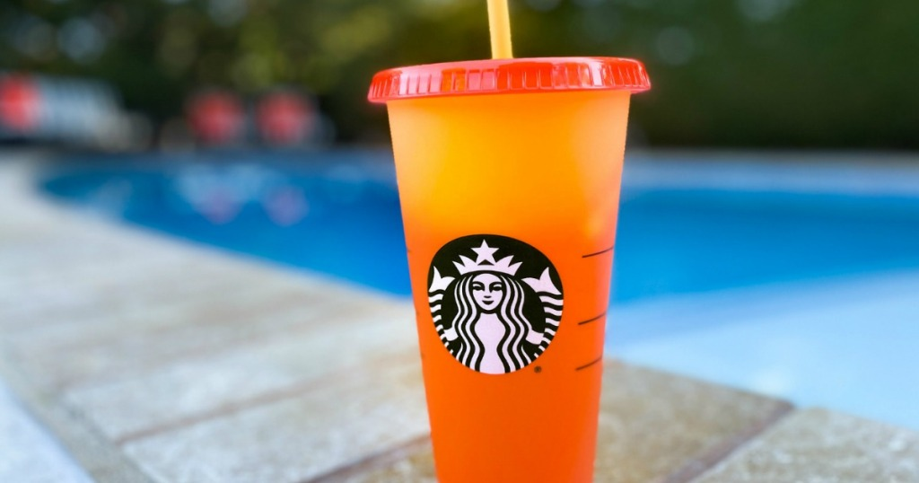 Starbucks color changing cup with straw