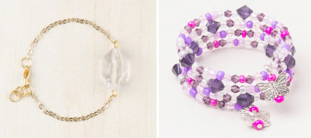 gold chain bracelet with large clear jewel, and pink and purple beaded wrap bracelet with butterfly charm