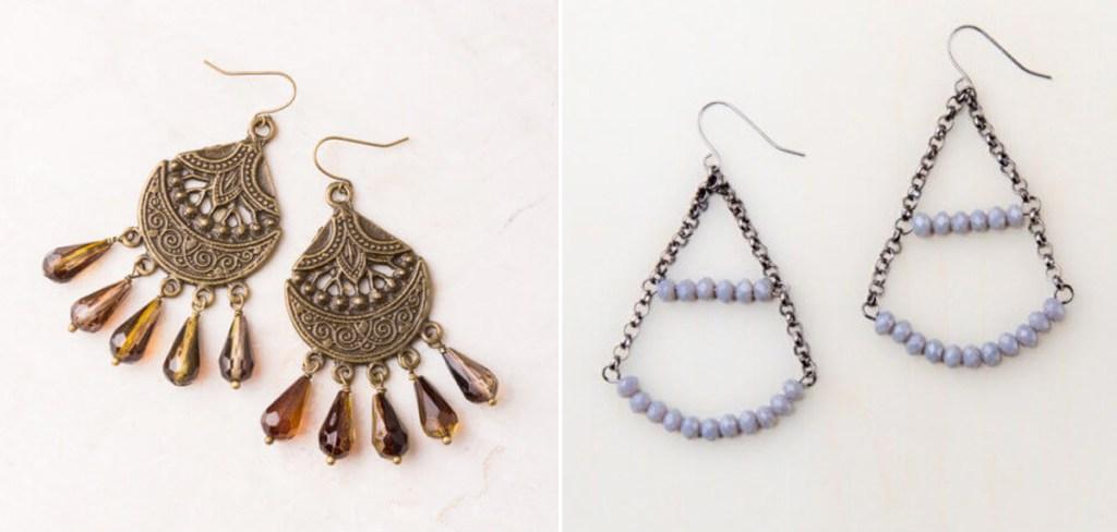 two pairs of beaded earrings