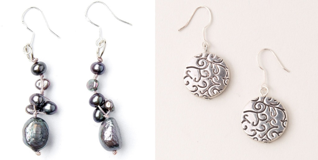 pair of silver beaded earrings and pair of silver circular earrings with swirl patterns