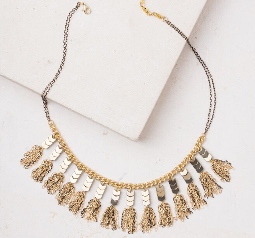 gold statement necklace with dangling chevron shapes and tassles