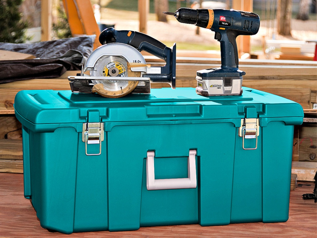 Sterilite Footlocker in garage with power tools