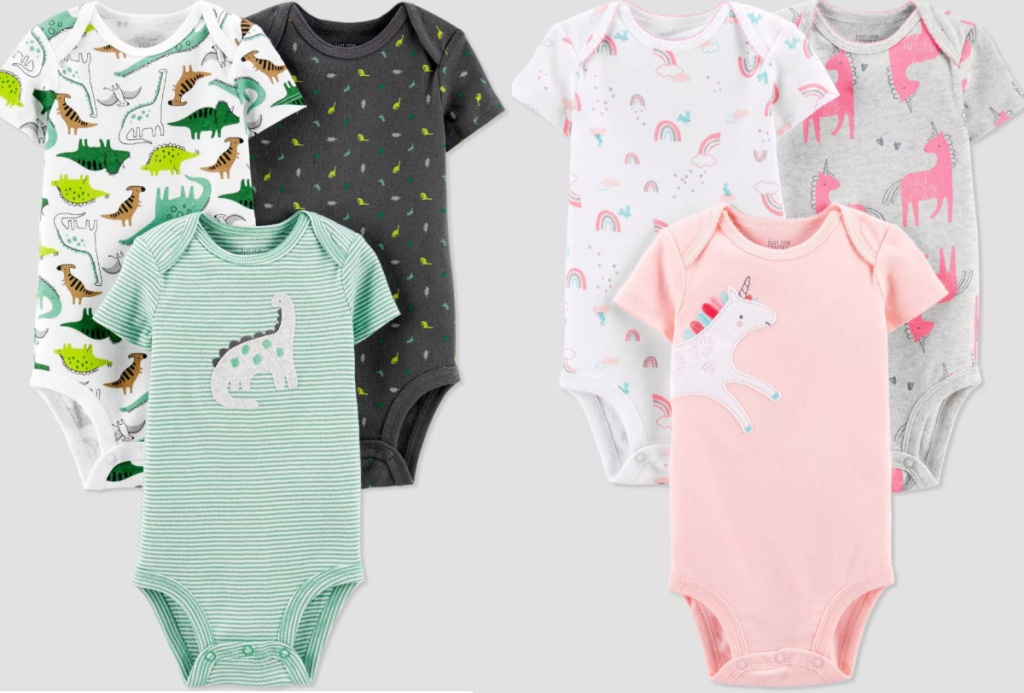 2 baby bodysuit 3-packs next to each other