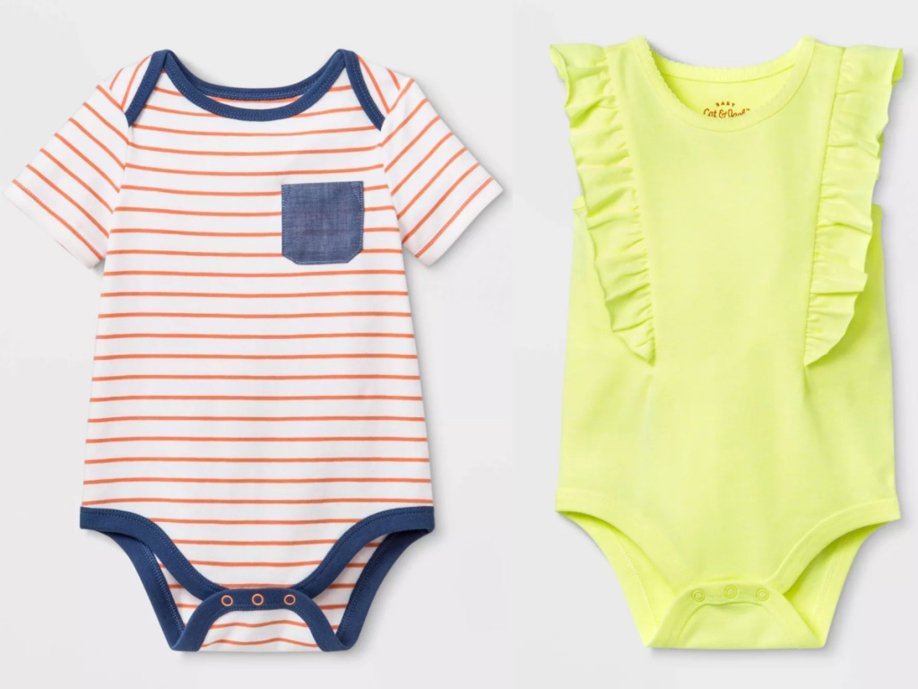 2 baby bodysuits next to each other