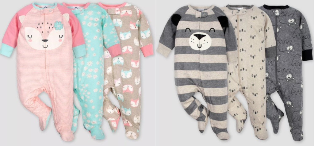 2 sets of 3 pack baby pajamas