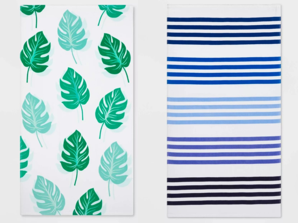 palm leaf beach towel and blue striped beach towel