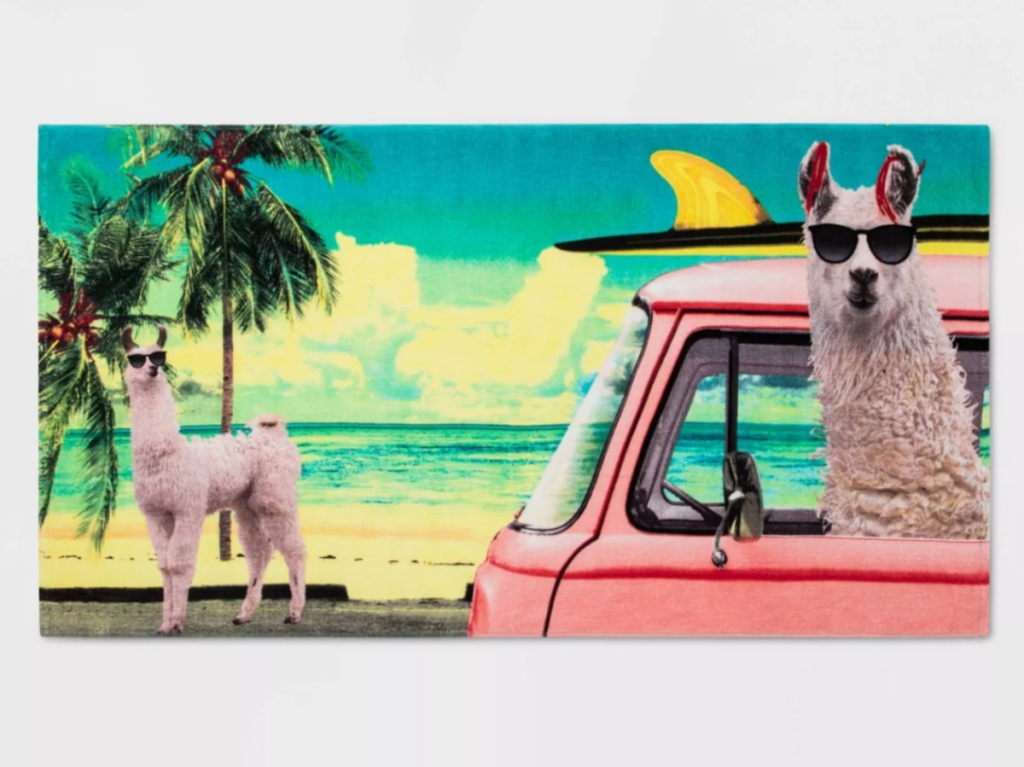 llama hanging out in a bus on a beach towel with another llama