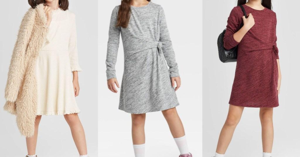 girl in white dress and cream fur jacket, girl in gray dress, and girl in burgundy dress