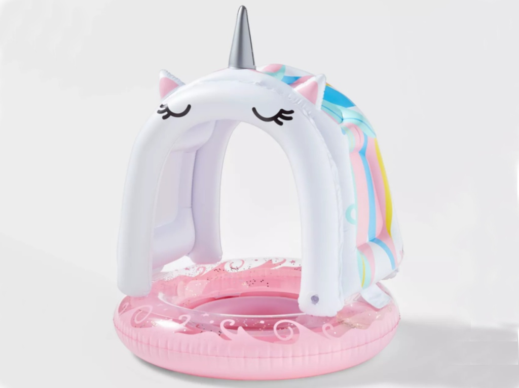 infant pink and white unicorn pool float with canopy