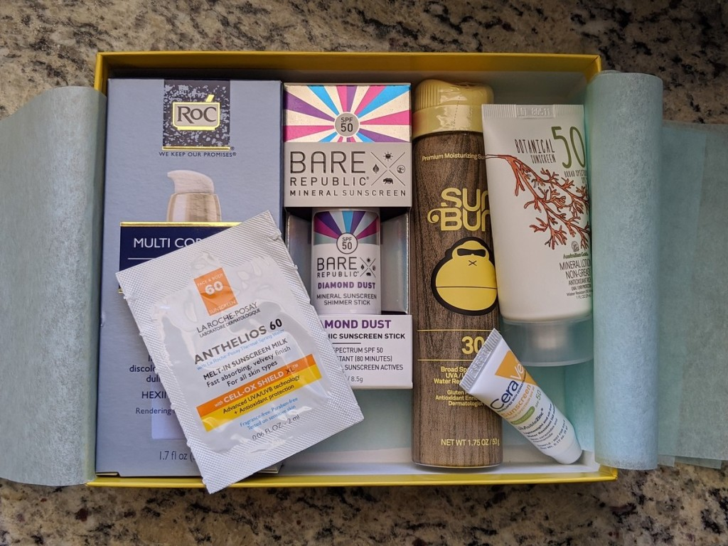 Target Sunscreen May Beauty Box shown open with contents