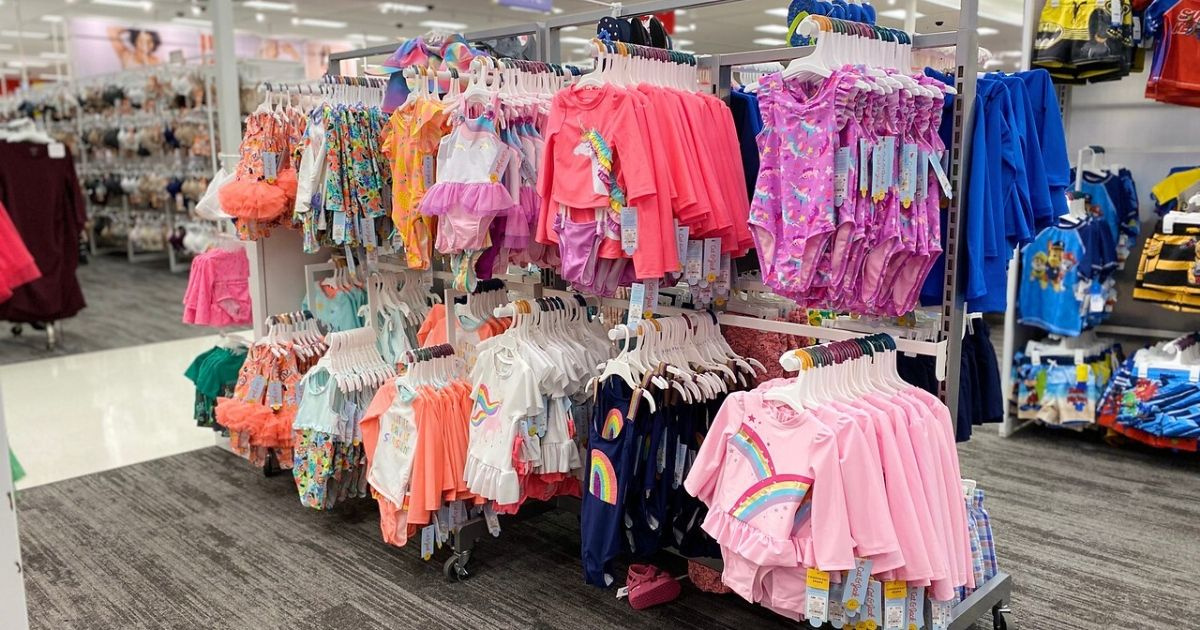 display of children's bathing suits at store