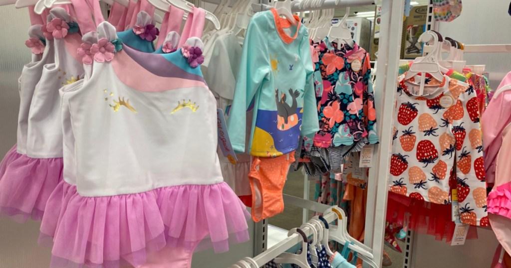 kids target swimwear suits, unicorn and flowers