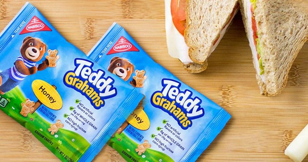 Teddy Grahams next to sandwich